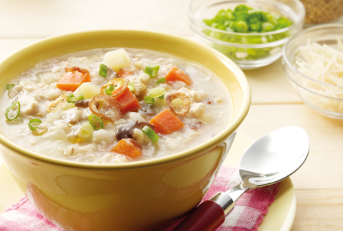 Multigrain Porridge with Minced Chicken and Vegetables