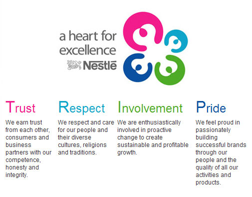 core values nestle With nutritional values, leveraging our strengths as a global company like nestlé  in many other countries, nestlé in japan strives to create value not only for our.
